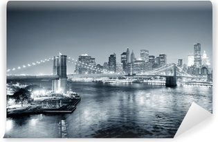 New York City Manhattan downtown black and white Vinyl Wall Mural