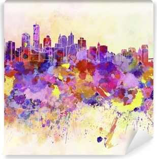 New York skyline in watercolor background Vinyl Wall Mural