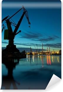 Night in shipyard of Gdansk, Poland. Vinyl Wall Mural