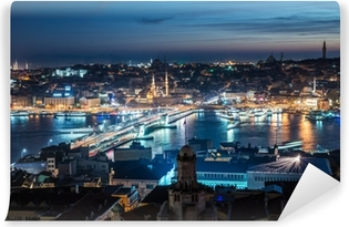 night Istanbul Galata bridge Bosphorus Vinyl Wall Mural