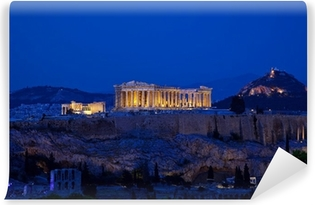 Night view of Acropolis, Athens, Greece Vinyl Wall Mural
