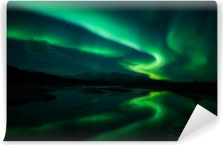Northern lights above lagoon in Iceland Vinyl Wall Mural