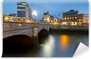 O'Connell street bridge in Dublin at night, Ireland Vinyl Wall Mural
