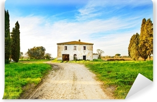Old abandoned rural house, road and trees on sunset.Tuscany, Ita Vinyl Wall Mural
