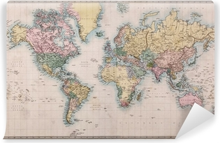 Old Antique World Map on Mercators Projection Vinyl Wall Mural