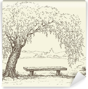 Old bench under a willow tree by the lake Vinyl Wall Mural