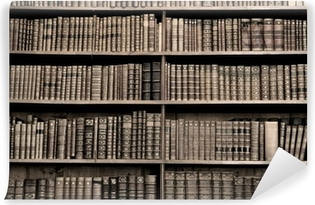 Old books in a library - sepia image Vinyl Wall Mural