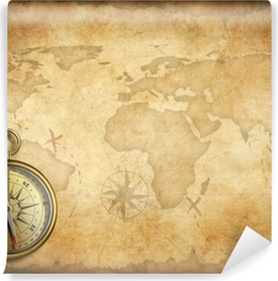 Old Brass Or Golden Compass With World Map Background Canvas Print