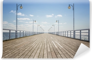 Old empty wooden pier over the sea shore with copy space Vinyl Wall Mural