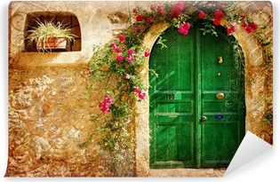 old Greek doors - retro styled picture Vinyl Wall Mural