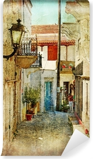 old greek streets- artistic picture Vinyl Wall Mural
