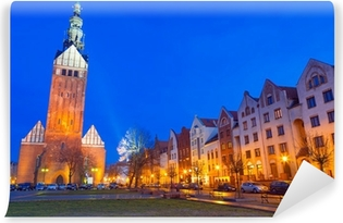 Old town of Elblag at night in Poland Vinyl Wall Mural