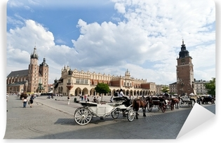 Old Town square in Krakow, Poland Vinyl Wall Mural