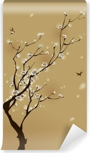 oriental style painting, plum blossom in spring Vinyl Wall Mural