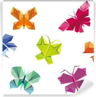 Greeting card with paper butterflies - vector EPS10 Wall Mural ...