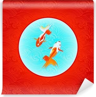 Pair of golfishes over inverted Japanese flag in waves Vinyl Wall Mural
