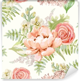 Pale pink bouquets on the white background. Vector seamless pattern with delicate flowers. Peony, rose, lilac, gillyflower. Pastel colors. Hand drawn illustration. Vinyl Wall Mural