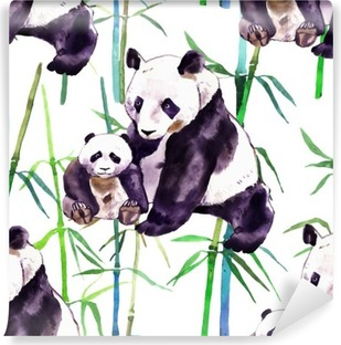Panda watercolor. Panda bear and baby bear. Panda Bear watercolor illustration isolated on white background Vinyl Wall Mural