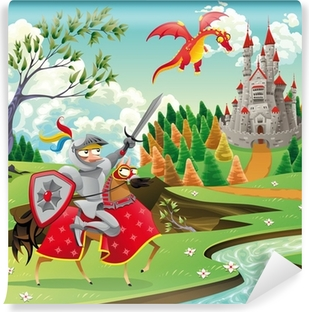 Panorama with castle, dragon and knight. Vector illustration Vinyl Wall Mural