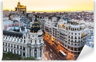 Panoramic view of Gran Via, Madrid, Spain. Vinyl Wall Mural
