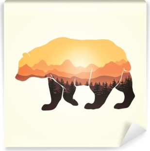 Panoramic view through bear silhouette Vinyl Wall Mural