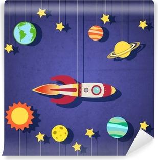 Paper rocket in space Vinyl Wall Mural