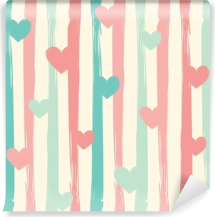Pastel stripes and hearts. Seamless vector pattern. Vinyl Wall Mural