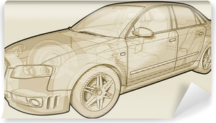 Perspective sketchy illustration of an Audi A4. Vinyl Wall Mural