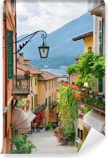 Picturesque small town street view in Lake Como Italy Vinyl Wall Mural