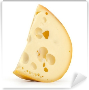 Background Of Fresh Yellow Swiss Cheese With Holes Wall Mural