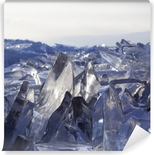Pieces of ice glisten in the sun. Lake Baikal, Russia. Vinyl Wall Mural