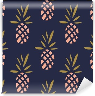 Pineapples on the dark background. Vector seamless pattern with tropical fruit. Vinyl Wall Mural