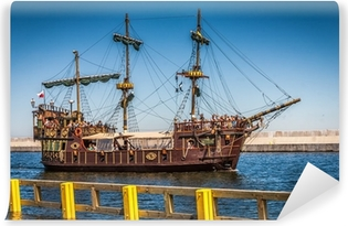Pirate galleon ship on the water of Baltic Vinyl Wall Mural