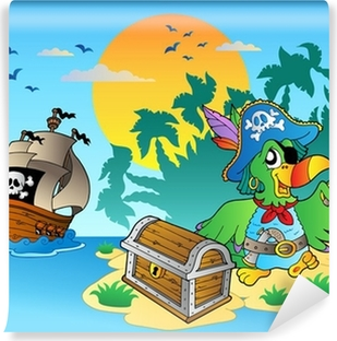 Pirate parrot and chest on island Vinyl Wall Mural
