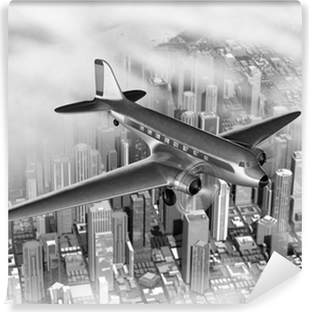 Plane Over City Vinyl Wall Mural
