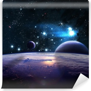 Planets over the nebulae in space Vinyl Wall Mural