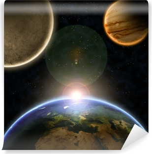 Planets with sunrise in the space Vinyl Wall Mural