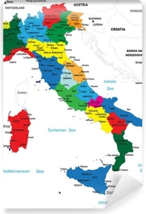 Political map of Italy Vinyl Wall Mural
