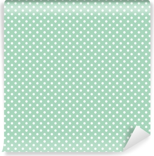 Polka dots on fresh mint background seamless vector pattern Vinyl Wall Mural