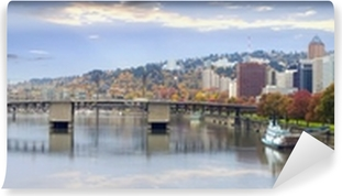 Portland Oregon Downtown Skyline and Bridges Vinyl Wall Mural