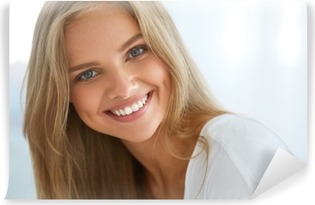 Portrait Beautiful Happy Woman With White Teeth Smiling. Beauty. High Resolution Image Vinyl Wall Mural