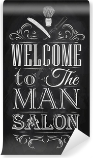 Poster Barbershop welcome to the man salon in a retro style and Vinyl Wall Mural