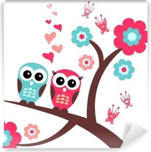 Pretty romantic card with owls Vinyl Wall Mural