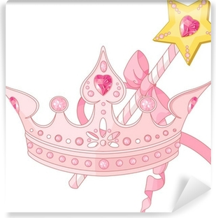 Princess crown and magic wand Vinyl Wall Mural