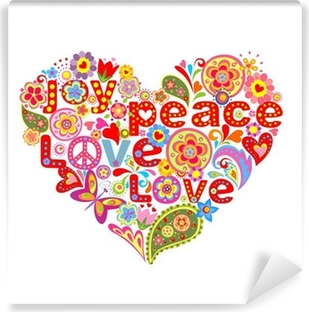 Print with colorful hippie floral heart Vinyl Wall Mural