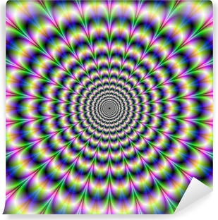 Psychedelic Pulse in Purple and Green Vinyl Wall Mural
