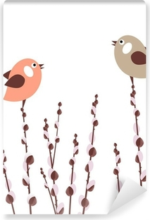 Pussy willow branches with small stylized birds Vinyl Wall Mural