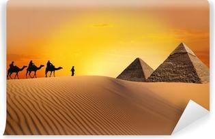 Pyramid, camel and sunset Vinyl Wall Mural