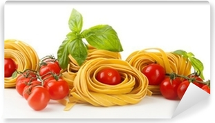 Raw homemade pasta and tomatoes, isolated on white Vinyl Wall Mural