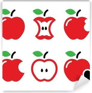Red Apple Apple Core Bitten Half Vector Icons Sticker Pixers